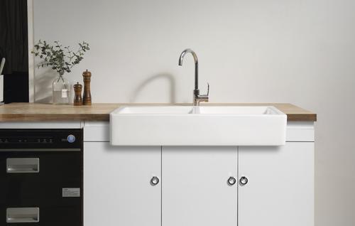 tuscany farmhouse apron front white ceramic double bowl on farmhouse sink lowest price id=48823