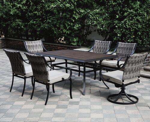 vanderbuilt beige 7 piece dining patio