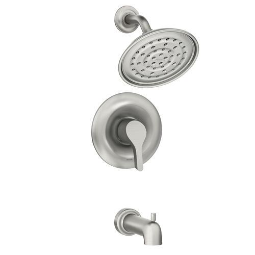 brushed nickel bathtub shower faucet at