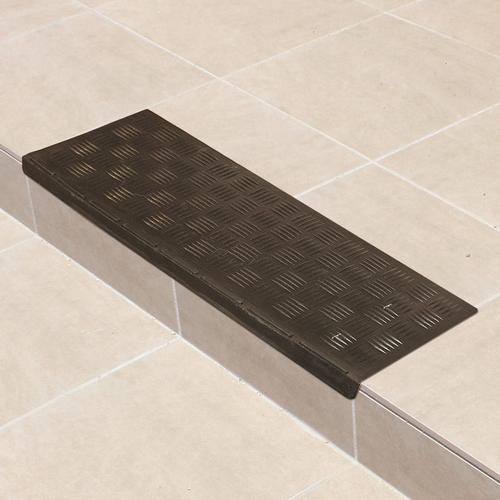 Multy Home™ 9 X 24 Rubber Stair Tread At Menards® | Decorative Rubber Stair Treads | Modern Exterior Stair | Pattern | Pie Shaped | Abrasive | Dark Wood Step
