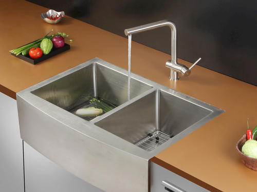 ruvati 33 apron front workstation low divide double bowl on farmhouse sink lowest price id=66809