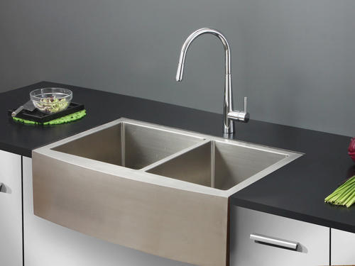 ruvati 36 apron front workstation low divide double bowl on farmhouse sink lowest price id=21547