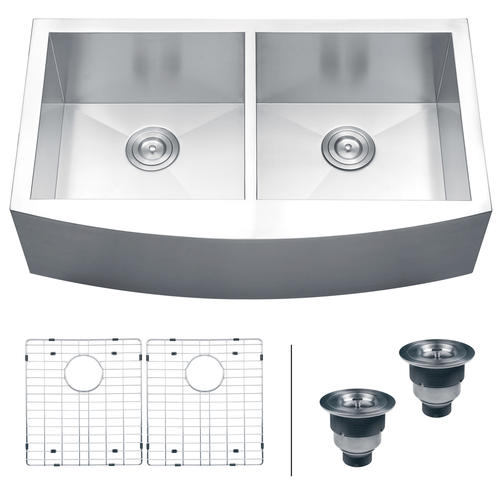 ruvati 36 apron front workstation low divide double bowl on farmhouse sink lowest price id=12855