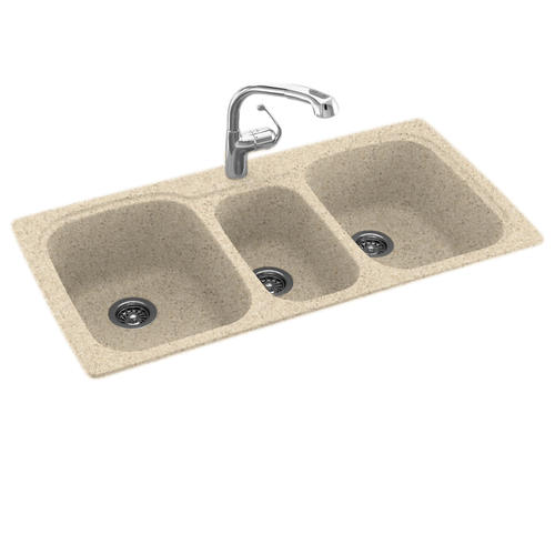 solid surface triple bowl kitchen sink