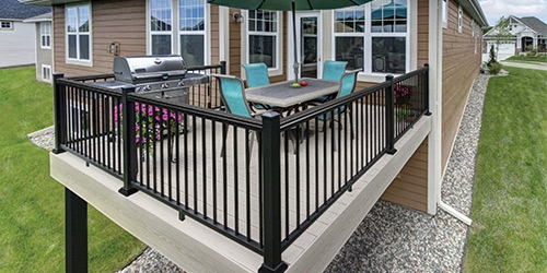 Exterior Railings Gates At Menards® | Outside Metal Stair Railing | Steel | Concrete | Steel Handrail | Porch | Outdoor Stair