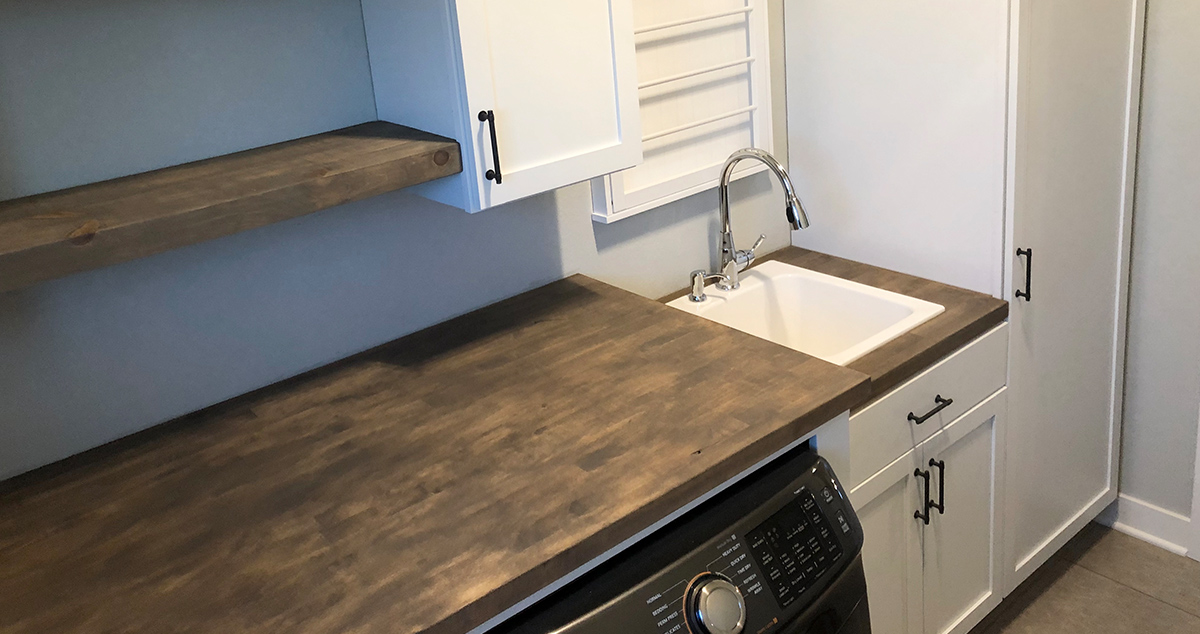 butcher block laundry room project by