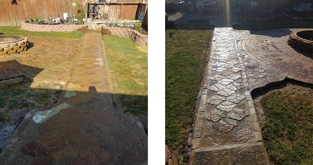 fire pit patio walkway project by