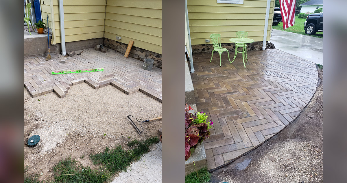 herringbone paver patio project by