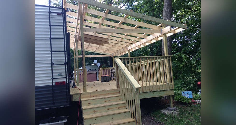 new camper deck with roof project by