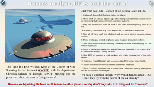 Apparently there are some Armstrongists who believe in flying saucers.