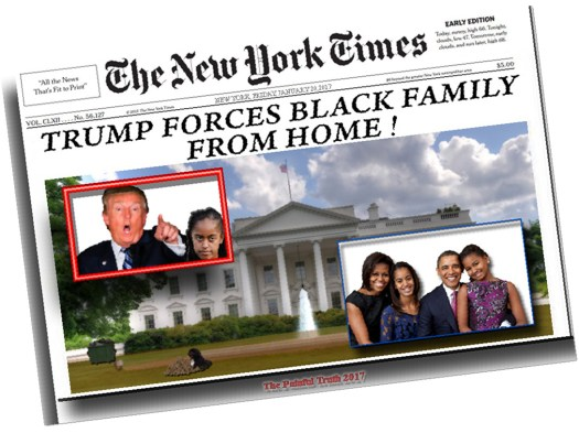 Donald Trump evicted a black family from public housing today causing riots in cities across the nation. Click to enlarge.