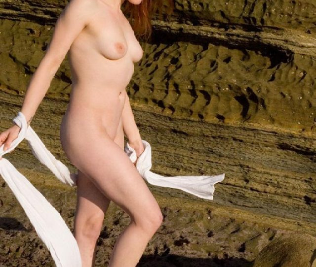 Nude Redhead Standing In Full Sun Long Hair Red Hair Shaved Pussy