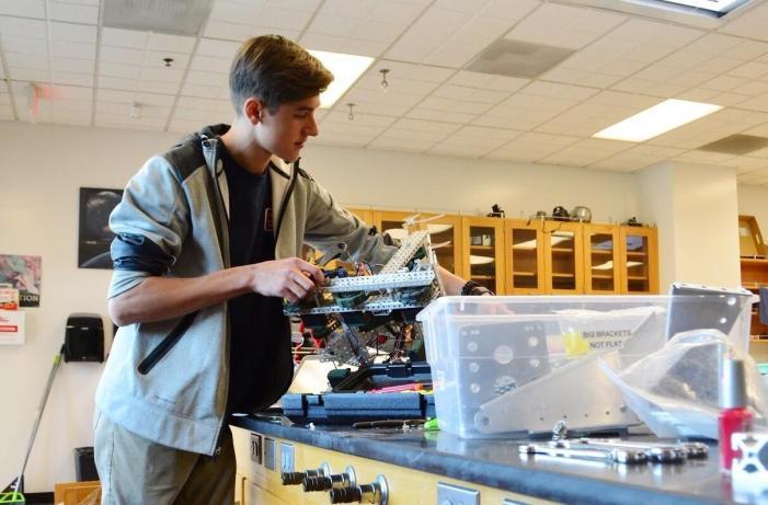 Cameron Schiller '18 drives towards another robotics championship
