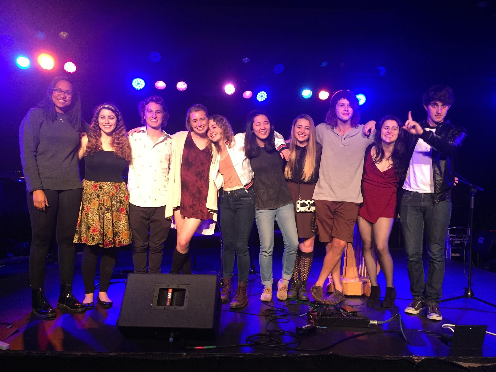 Picture published with permission of Jensen McRae '15. McRae and her USC Thornton School of Music Peers perform at the Freshmen Pop Songwriter Showcase held on Jan. 29.