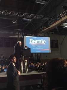 Presidential candidate Bernie Sanders addresses a crowd at a rally before the New Hampshire primary election Feb. 9. Credit: Eli Adler/Chronicle