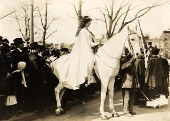 Inez Milholland at a women's suffrage rally in 1913. Image taken from Wikimedia commons.
