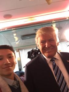 Eli Adler takes a selfie with presidential candidate Donald Trump before the New Hampshire primary election. Credit: Eli Adler/Chronicle