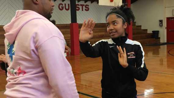Junior and senior girls learn self defense strategies