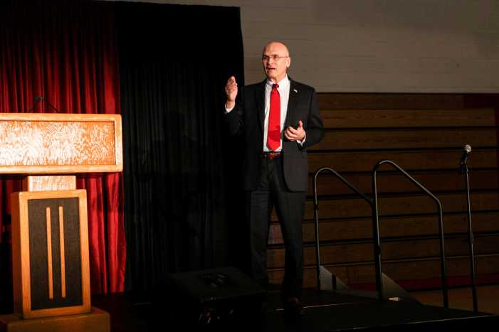Former CEO Andrew Puzder encourages students to embrace capitalism