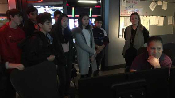 Broadcast journalism class visits Fox Sports Studios