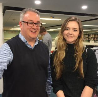 Chelsea MacGillivray with Jamie (Campus Library Manager)