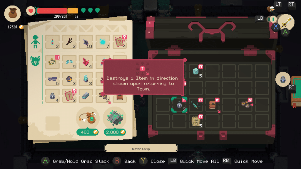 An image of inventory management in Moonlighter