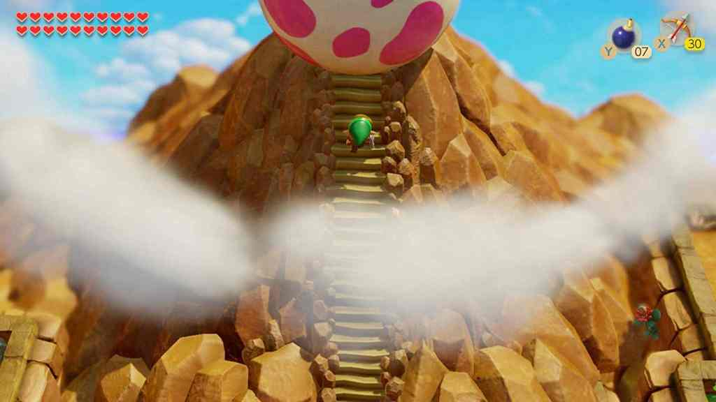 Link at the mountain summit with the Wind Fish Egg in Zelda