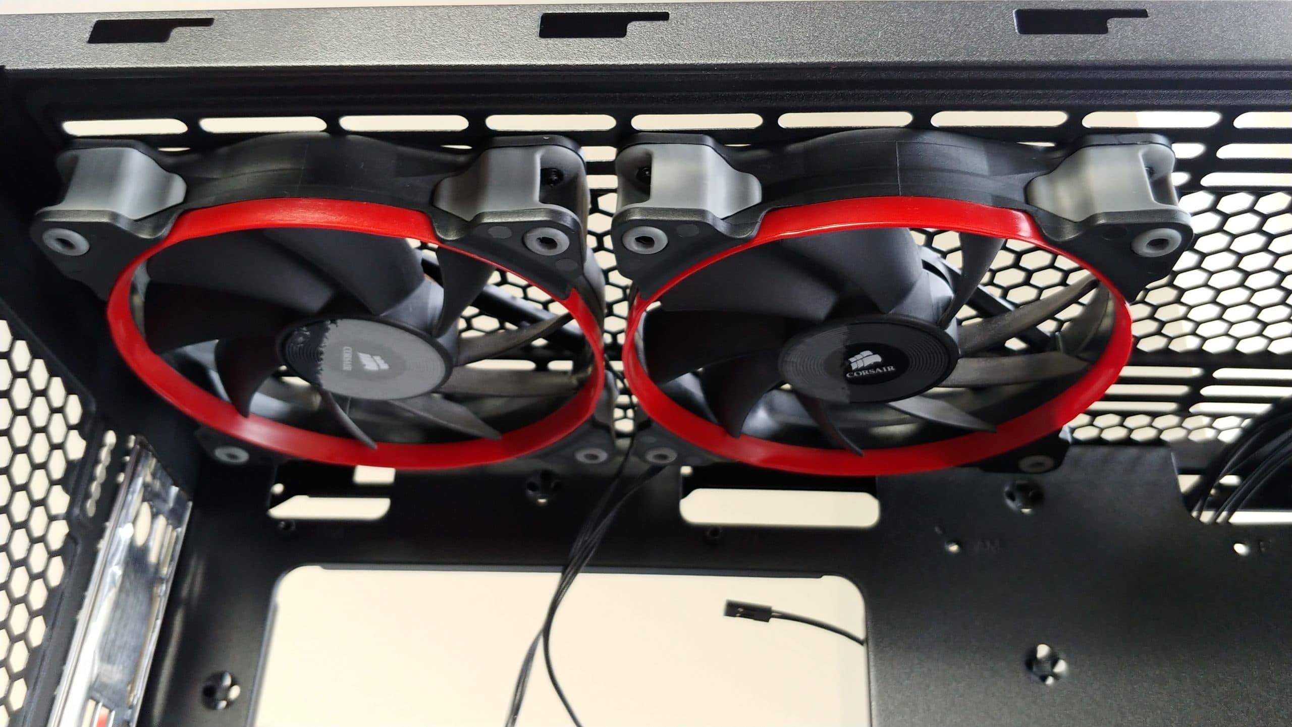 Inside the Gamdias Argus M1 case looking at the fans mounted to the top of the case.