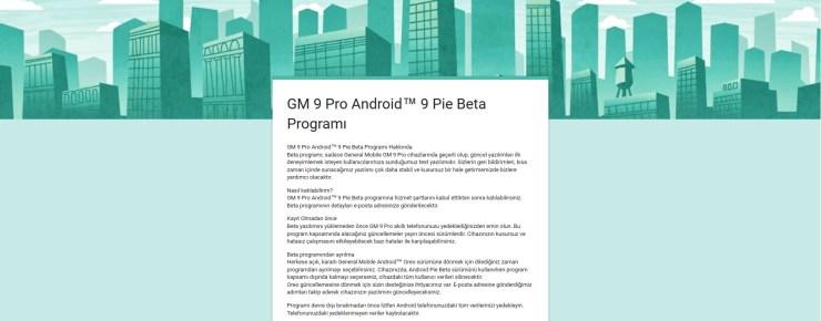 GM 9 Pro için Android Pie Beta
