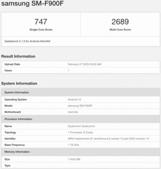 galaxy fold geekbench