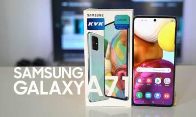 Samsung Galaxy A71 kutusundan çıkıyor