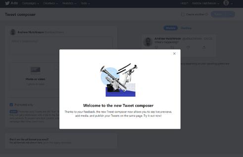 Twitter Reklam Yöneticisinde Tweet Oluşturma Süreci'ni güncelliyor