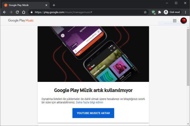 Google Play Müzik artık kullanılamıyor