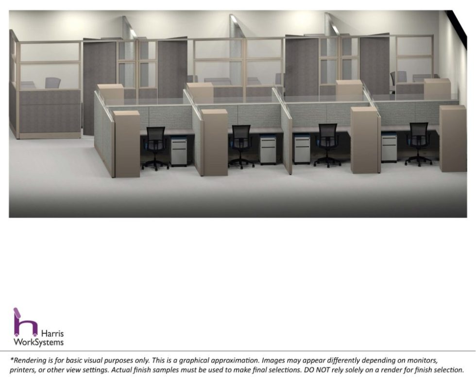 Cubicle Typical and Modular Private Office Rendering by Harris WorkSystems