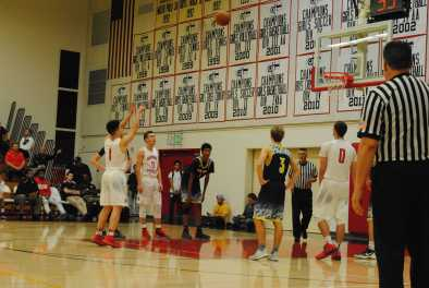 Varsity player shoots free throw against Notre Dame. Credit: Casey Kim '20/SPECTRUM
