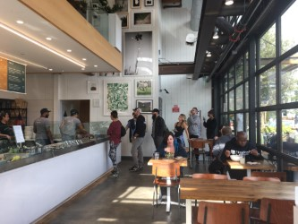 The popular restaurant's growing line Credit: Caitlin Chung '20/SPECTRUM
