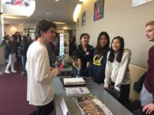 The Spectrum staff greets a student asking about the course. Credit: Giselle Dalili '20/SPECTRUM