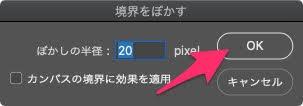 半径を設定してOKボタンをクリックします。