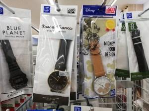 ミッキー柄の腕時計も500円