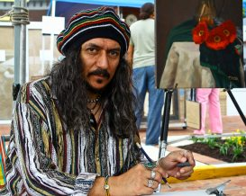 Jose Piedra, Hyattsville painter, sketches out ideas for future work. Credit: Hyattsville Patch