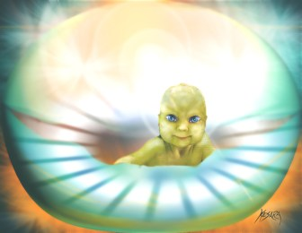 Glowing picture of a reptilian baby