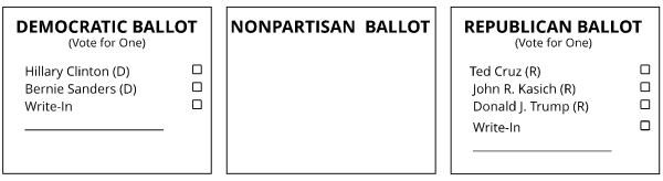 The three ballots used in the 2018 Oregon Presidential Primary. The Nonpartisan Ballot is blank.