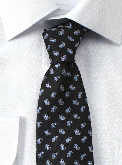 ネクタイ ペイズリー 黒 ブラック ブルー メンズ ビジネス