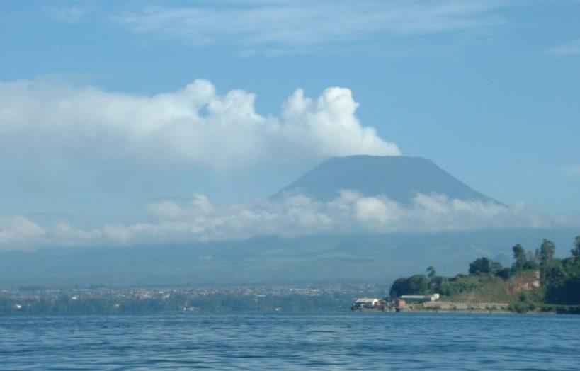 Closer view of the Volcano, Lake Kivu and Cap Rubone