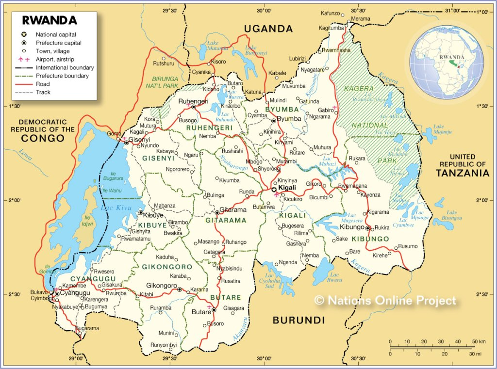 Map of Rwanda with Towns, Provinces and Main Roads