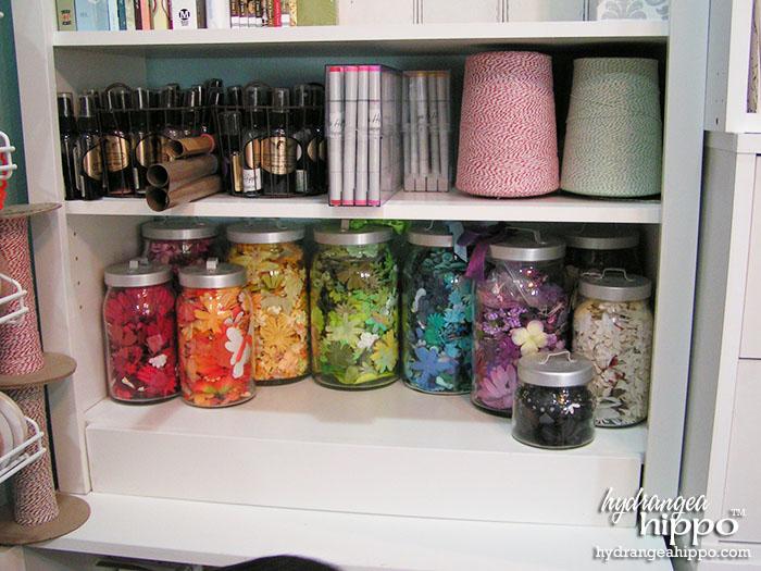 Flower Storage in Jennifer Priest's Scrapbook Room.