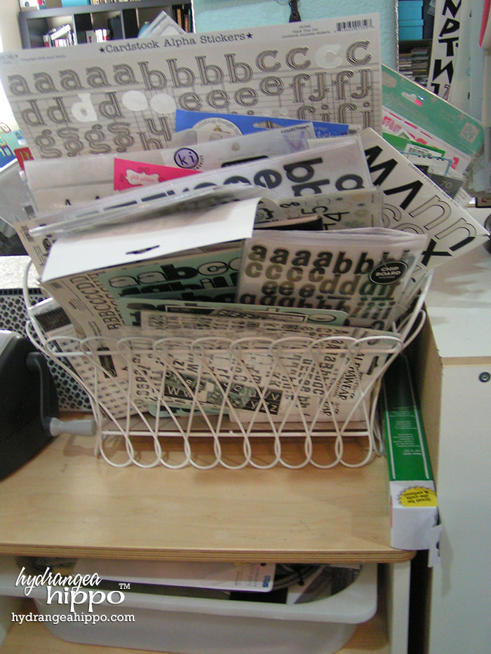 Use a wide wire basket to store your sticker letters in for easy access.