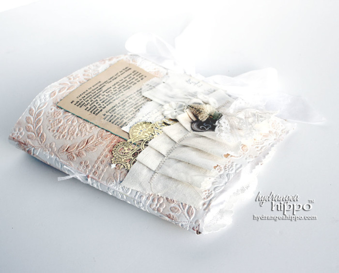 Altered Fabric and Paper Scrap WHITE Christmas Album - TOMBOW - by Jennifer Priest for hydrangeahippo 7