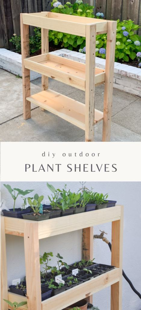 DIY outdoor plant shelf with three shelves