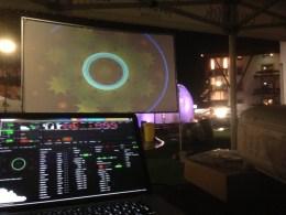 Flower&Ice 2d Projektion Grossleinwand Dorfplatz im Zuge des Events Flower&Ice